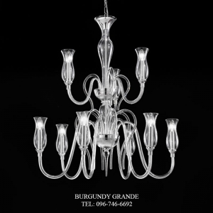 1022/6+3, Luxury Blown Glass Chandelier from Italy
