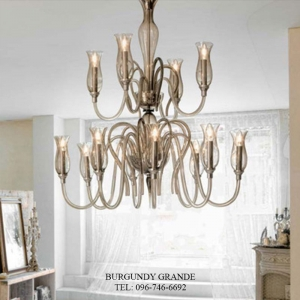 1022/8+4, Luxury Blown Glass Chandelier from Italy