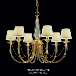 373/6 Amber, Luxury Classic Blown Grass Chandelier from Italy